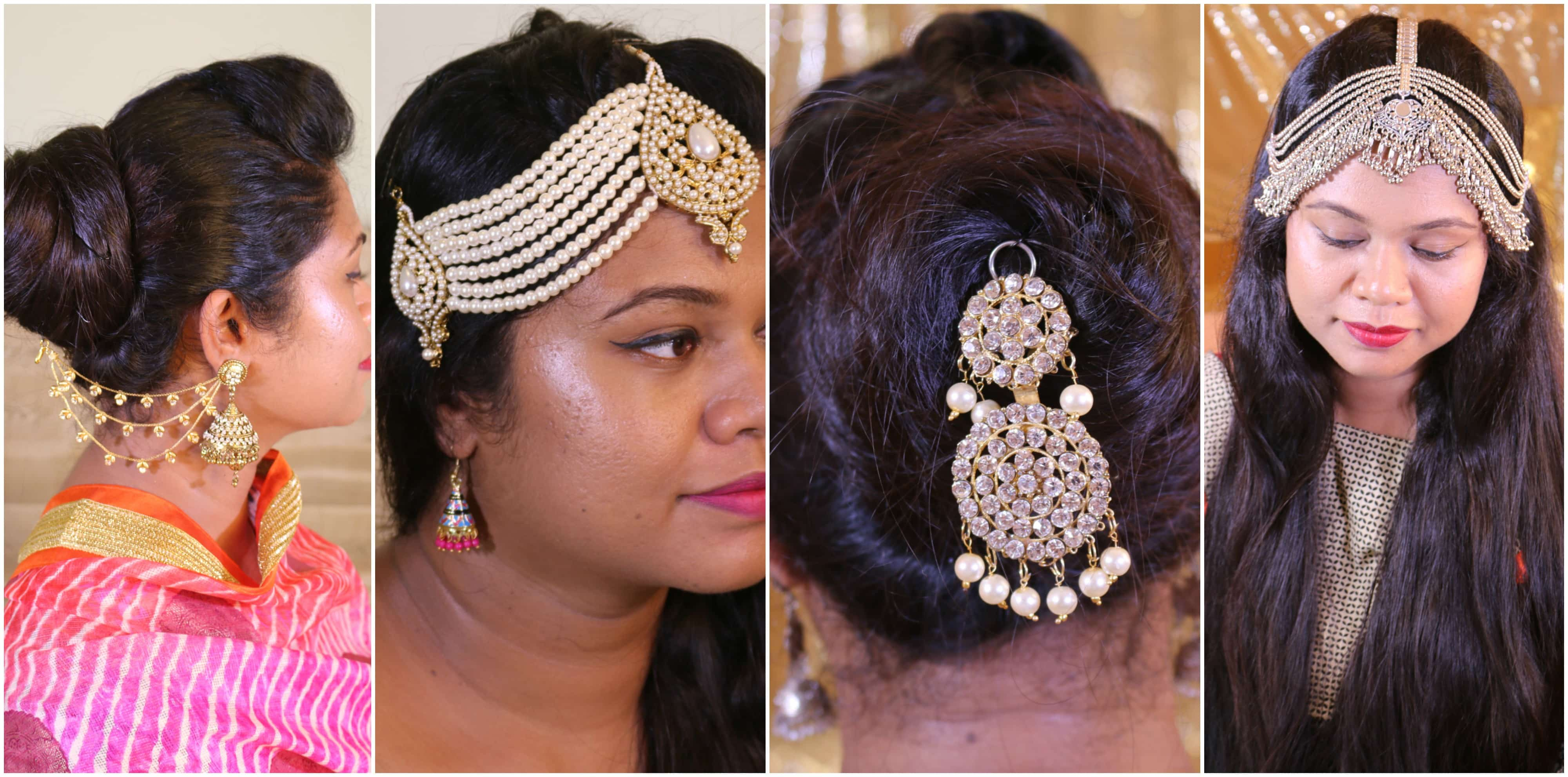 diwali hair accessory collection. indian festival makeup and